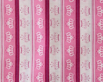 100% Cotton Print Fabric - Linear Crown Pink