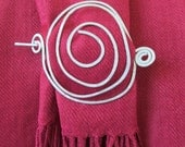 Spiral Shaped Hammered Scarf, Hair, Shawl or Sweater Pin