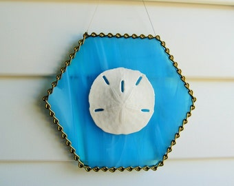 Aqua Blue & White Wispy Iridescent Stained Glass Authentic Sand Dollar Suncatcher with Decorative Brass Ladder Chain