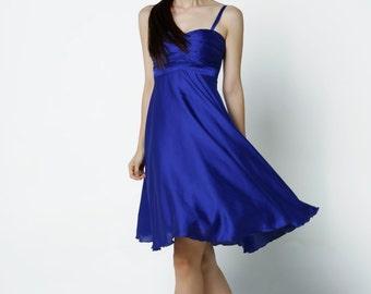 On Sale Size XXS Blue Wedding dress party dress bridesmaid dress Prom handmade knee length formal dress - NC522-1