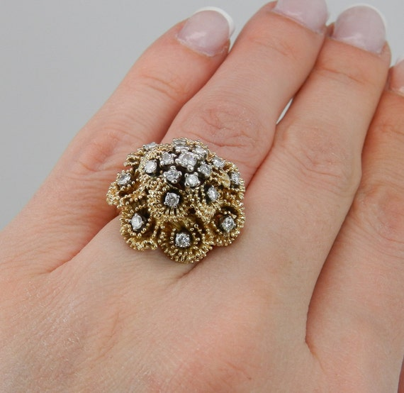 Vintage Cluster Ring Antique Ring Genuine Diamond DOME Ring 14K Yellow Gold Size 5.25