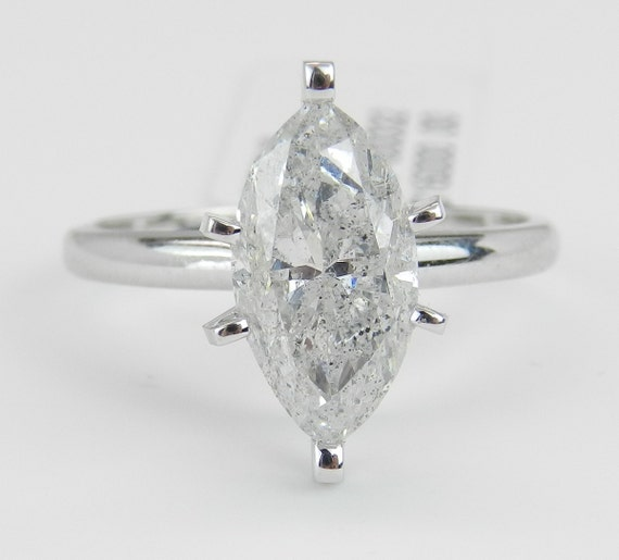 2.56 ct Marquise Brilliant SOLITAIRE Diamond Engagement Ring 14K White Gold Size 7.25