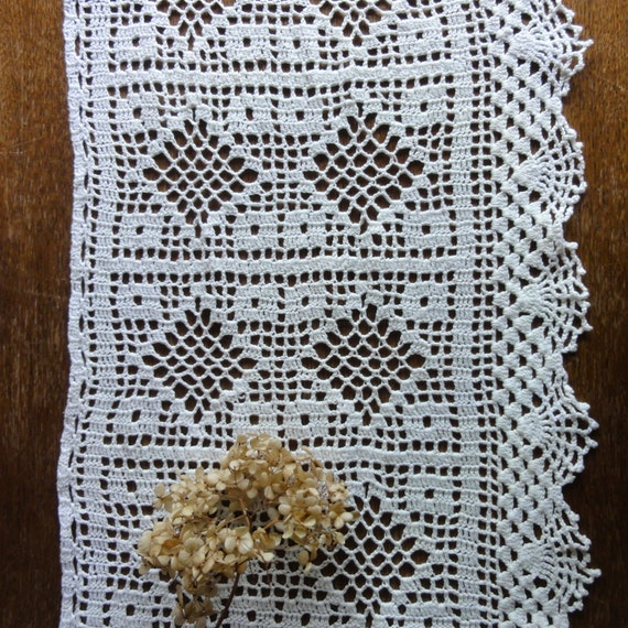 Dutch Crochet Curtains Filet Valance Vintage Curtains Cotton Lace