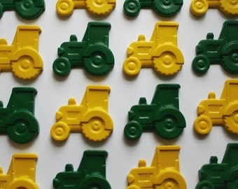 Farm Tractor Crayons - Set of 8 (4 Green and 4 Yellow) - Great for a John Deere Party