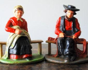SALE Vintage Wilton Cast Iron Amish Bookends