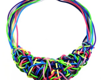 Tangled Up Necklace - Abstract Colorful Statement Necklace by Weirdly Cute Jewelry