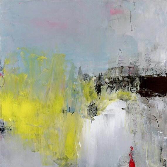 Gelb original abstrakte landschaftsmalerei 30x30cm acryl for Vorlagen malerei