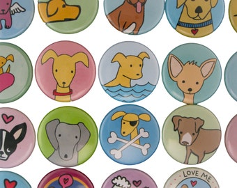 Puppy Time - Pick your 4 Dog Magnets - Poodle, Boston Terrier, Chihuahua, Golden Retreiver, Boxer, Pitbull, Weimaraner, Beagle