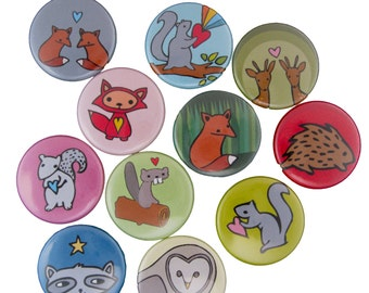 Woodland Love Pins - Pick your 4 Woodland Pinback Buttons - Owl, Deer, Squirrel, Fox, Beaver Pins
