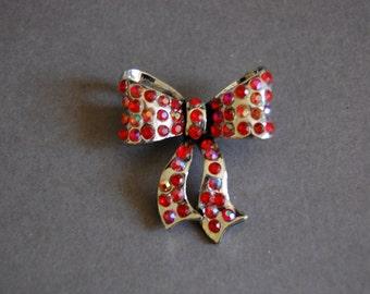 Red Rhinestone Bow Pin