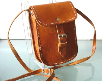 Vintage Whiskey Heavy Leather Crossbody Pouch