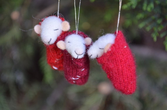 modflowers: set of 3 tiny nursery mice by feltingdreams