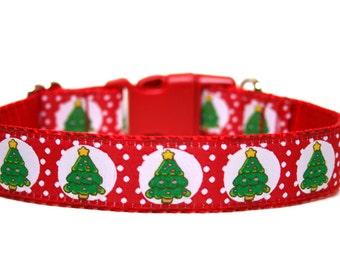 """Christmas Tree Dog Collar 1"""" Holiday Dog Collar SIZE SMALL"""