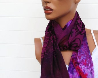 Hand Dyed Silk Devore Scarf with Fringe