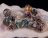 20 Wire Wrapped Glass Beads Craft Supplies Jewelry Beading Supplies Handmade Multicolored Jewelry Link Jewelry Supplies Free Shipping to USA