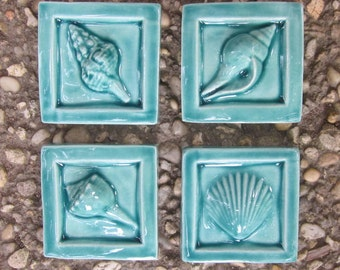Turquoise Shell 2x2 Ceramic Tiles -- Set of 4 accent tiles, READY TO SHIP