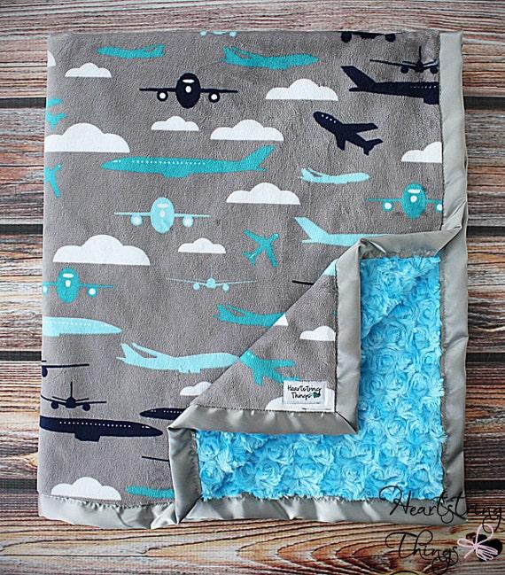 Baby Minky Aviator Blanket Airplane Blanket Airplane Minky