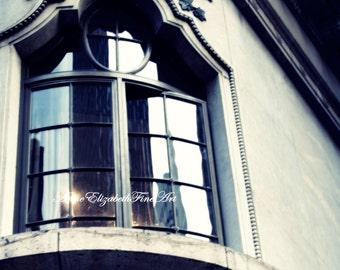 New York City Photograph,Surreal, Moody, Black & White Wall Art,Gothic, Bird Print, Architecture,Urban,Weathered,Aged, Window Art,Dorm Decor
