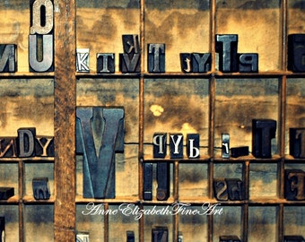 Typeography Print, Letters, Printing Press, Word Blocks,Vintage,Rustic Home Decor,Shabby Chic,Antique,Wooden Blocks,Industrial Art,Farmhouse
