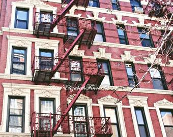 New York Art,Soho,Tribeca,Modern,Fire Escape,Industrial,Dorm Decor,Hipster,New York Print,Red Brick,Balcony, Retro,Apartment,Architecture