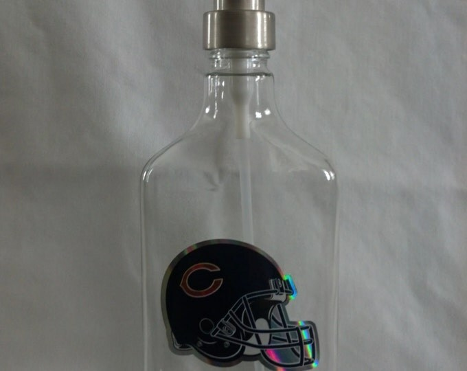 Chicago Bears glass Soap, Sanitizer or Lotion Dispenser