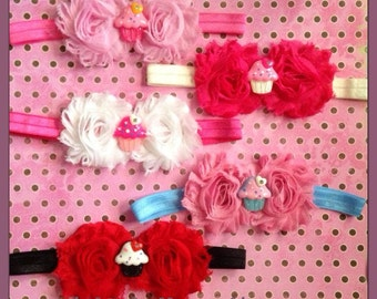 Double Shabby Flower Headbands with Center- Barbie, Cupcake, Hello Kitty-  Shabby Chic -  You Choose Colors