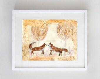 Foxes Children's Art Print