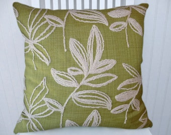 Green Embroidered Pillow Cover 18x18 or 20x20 or 22x22-Decorative Accent Pillow Cover-Floral Pillow Cover- Green and Cream.