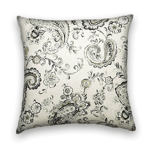 Paisley Decorative Pillow Cover- 18x18 or 20x20 or 22x22 Throw Pillow--Floral and Paisley--Black, Grey, Cream.
