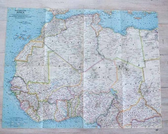 1966 northwestern africa national geographic wall map