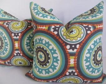 18x18 Outdoor Pillow, Orange Pillow, Suzani Pillow, Turquoise Pillow,Green Suzani pillow, Outddor Suzani Pillow