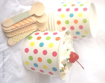 10 Large ICE CReaM cups-RainBoW DoTS-and 10 hand-stamped wooden spoons-full sized-choice of color/pattern