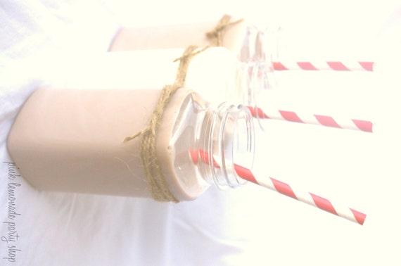 15 FRENCH Square Milk Bottles-Plastic--8 oz---with vinyl chalk labels