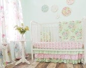 Boutique Bumperless Cribset in Mint and Pink with Pink Damask and Mint Floral Prints