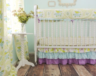 Bumperless Crib Bedding in Aqua, Purple, and Green with a Mockingbird Print, Purple Aqua Crib Bedding, Purple Aqua Gold Bedding