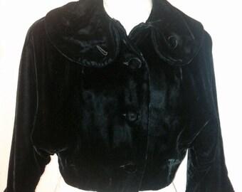 Vintage 1950's 50's black velvet evening jacket coat