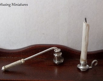 Colonial Candlestick and Snuffer in 1:12 Scale for Dollhouse Miniature Bed Chamber Roombox