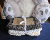 Crocheted Baby Washcloths in Gray, Ecru and White