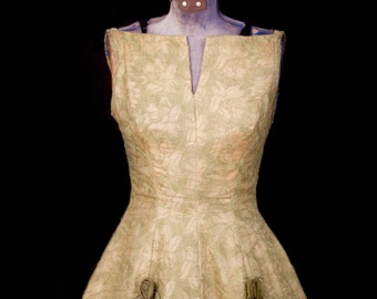 1950s Dress // Green Embroidered Party Dress with Organdy Rosettes