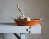 Vintage Le Creuset Gratin Dish // 1970s French Enameled Cast Iron // Fall Orange Enamelware // Retro Kitchen