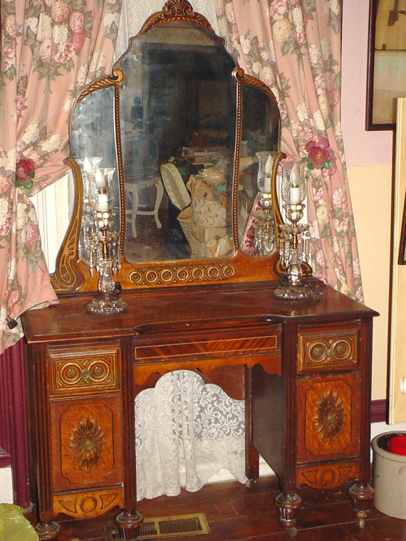 Antique Vanity Ornate Depression Era Furniture Triple Mirror