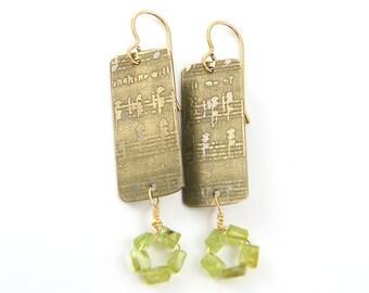 Peridot Earrings, Etched Metal Earrings, Music Earrings, Mixed Metal Green Dangle Earrings
