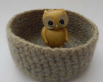 felted wool bowl container jewelry holder eco friendly storage olive and blue hand dyed wool