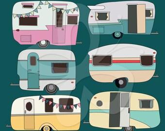 Retro Caravan Digital Clip Art Clipart Set - Personal and Commercial Use
