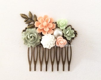 Wedding Hair Comb Sage Green Pink Peach Bridal Head Piece Floral Hair Pin Pastel Colors Leaf Flower Woodland Vintage Style Light Olive Coral