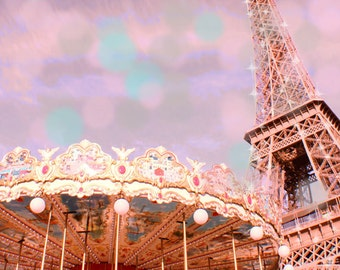 Paris Photography, Eiffel Tower Photography, Paris Carousel, Pastel, Pink Paris Print, Bokeh