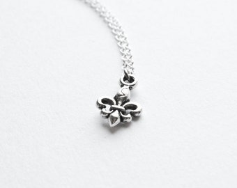 Tiny Fleur de Lis Necklace-  Silver with 925 Sterling Silver Chain- Minimalistic - Small Petite Charm Jewelry- Under 20