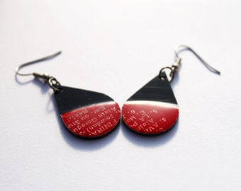 red drop earrings unique earrings unique gift idea for her small dangle earrings upcycled jewelry tear drop earrings eco fashion