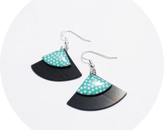 eco friendly earrings teal earrings minimalist earrings vinyl record earrings polka dot earrings modern earrings simple earrings eco gift