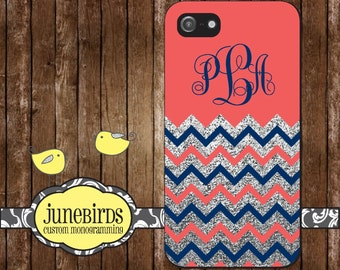 Personalized Iphone iPhone 6, iPhone 5/5s and iPhone 4/4s Cell Phone Case - Coral, Navy and Silver Glitter Chevron